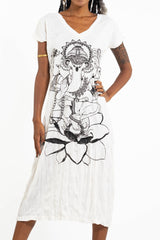 Sure Design Womens Lord Ganesh V Neck Tee Dress White