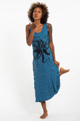 Sure Design Womens Octopus Long Tank Dress in Denim Blue