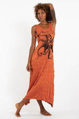 Sure Design Womens Octopus Long Tank Dress in Orange