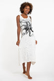 Wholesale Sure Design Womens Octopus Long Tank Dress in White - $9.00