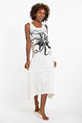 Sure Design Womens Octopus Long Tank Dress in White