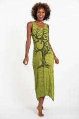 Sure Design Womens Om Tree Long Tank Dress in Lime