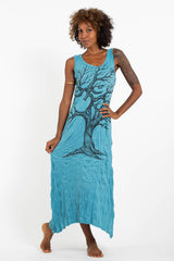 Sure Design Womens Om Tree Long Tank Dress in Turquoise