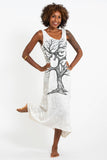 Wholesale Sure Design Womens Om Tree Long Tank Dress in White - $9.00