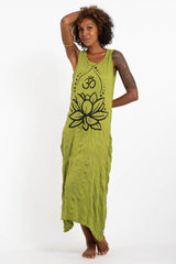 Sure Design Womens Lotus Om Long Tank Dress in Lime