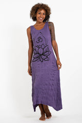 Sure Design Womens Lotus Om Long Tank Dress in Purple