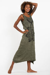 Sure Design Womens Sacred Geometry Mandala Long Tank Dress in Green