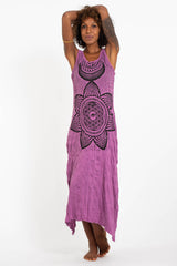 Sure Design Womens Sacred Geometry Mandala Long Tank Dress in Pink