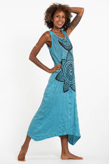 Sure Design Womens Sacred Geometry Mandala Long Tank Dress in Turquoise