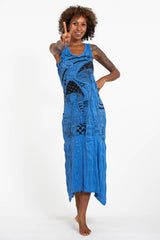 Sure Design Womens Magic Mushroom Long Tank Dress in Blue