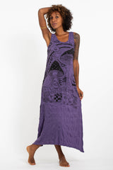 Sure Design Womens Magic Mushroom Long Tank Dress in Purple