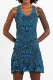 Wholesale Sure Design Women's Tribal Masks Tank Dress Denim Blue - $9.00