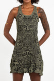 Wholesale Sure Design Women's Tribal Masks Tank Dress Green - $9.00
