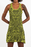 Wholesale Sure Design Women's Tribal Masks Tank Dress Lime - $9.00