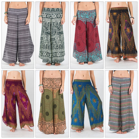Assorted set of 5 Amazingly Soft Wide Leg Palazzo Style Harem Pants with elastic back waistband