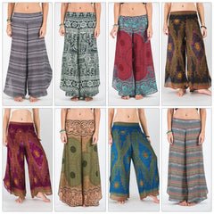 Assorted set of 10 Amazingly Soft Wide Leg Palazzo Style Harem Pants with elastic back waistband