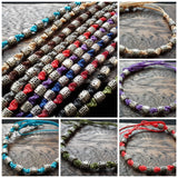 Wholesale Assorted set of 10 Thai Waxed Cotton Woven Bracelet With Tribal Beads - $18.00