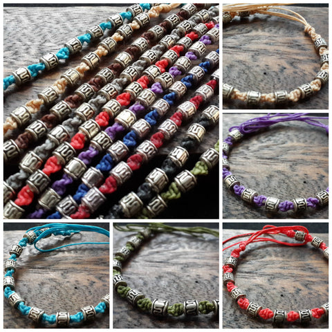 Assorted set of 10 Thai Waxed Cotton Woven Bracelet With Tribal Beads