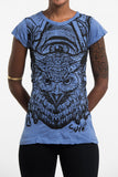 Wholesale Sure Design Women's All Seeing Owl T-Shirt Blue - $8.00
