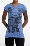 Wholesale Sure Design Women's Lotus Elephant T-Shirt Blue - $8.00