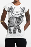 Wholesale Sure Design Women's Lotus Elephant T-Shirt White - $8.00