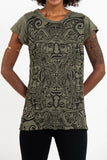 Wholesale Sure Design Women's Tribal Masks T-Shirt Green - $8.00