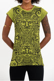 Wholesale Sure Design Women's Tribal Masks T-Shirt Lime - $8.00