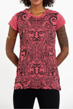 Wholesale Sure Design Women's Tribal Masks T-Shirt Red - $8.00