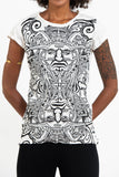 Wholesale Sure Design Women's Tribal Masks T-Shirt White - $8.00