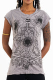 Wholesale Sure Design Women's Sunflower Skull T-Shirt Gray - $8.00