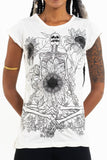 Wholesale Sure Design Women's Sunflower Skull T-Shirt White - $8.00
