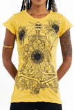 Wholesale Sure Design Women's Sunflower Skull T-Shirt Yellow - $8.00