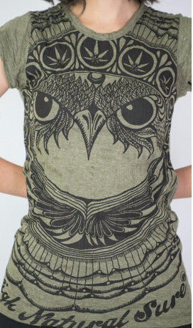 Sure Design Women's Weed Owl T-Shirt Green