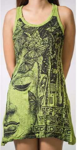 Sure Design Women's Butterfly Buddha Tank Dress Lime