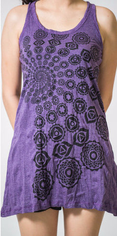 Sure Design Women's Chakra Fractal Tank Dress Purple