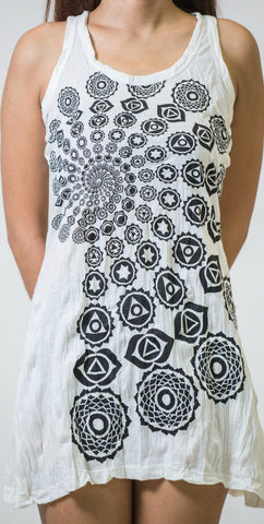 Sure Design Women's Chakra Fractal Tank Dress White