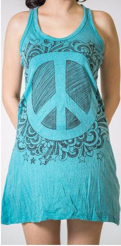 Sure Design Women's Peace Tank Dress Turquoise