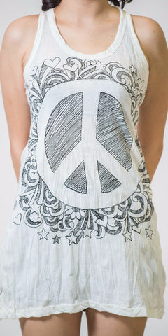 Sure Design Women's Peace Tank Dress White