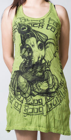 Sure Design Women's Baby Ganesh Tank Dress Lime
