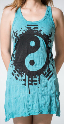 Sure Design Women's Yin Yang Tank Dress Turquoise