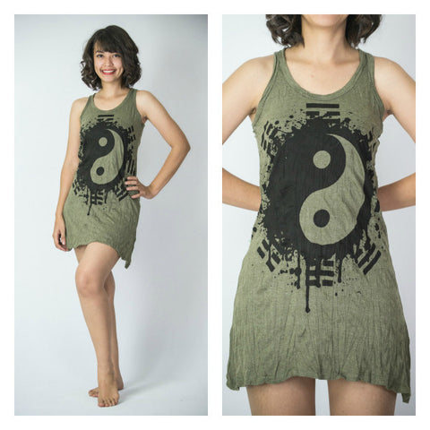 Sure Design Women's Yin Yang Tank Dress Green