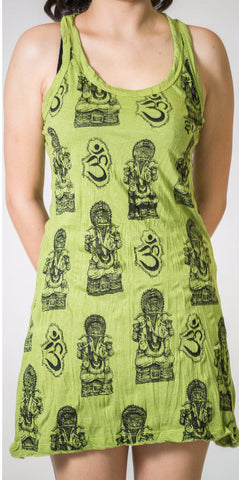 Sure Design Women's Multi Ohm Ganesh Tank Dress Lime