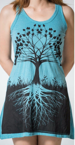 Sure Design Women's Tree Of Life Tank Dress Turquoise