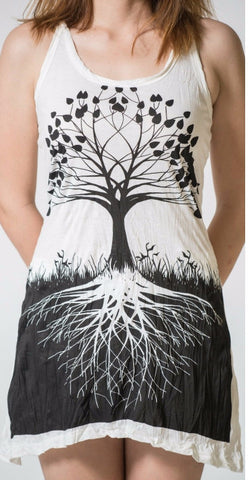 Sure Design Women's Tree Of Life Tank Dress White