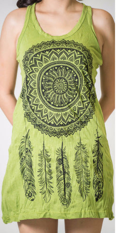 Sure Design Women's Dreamcatcher Tank Dress Lime
