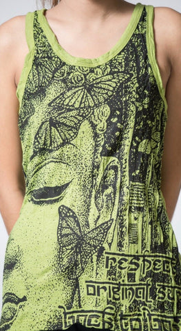 Sure Design Women's Butterfly Buddha Tank Top Lime