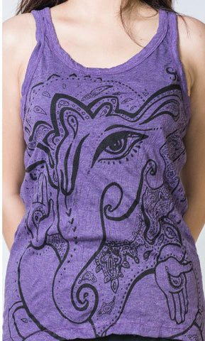 Sure Design Women's Cute Ganesh Tank Top Purple