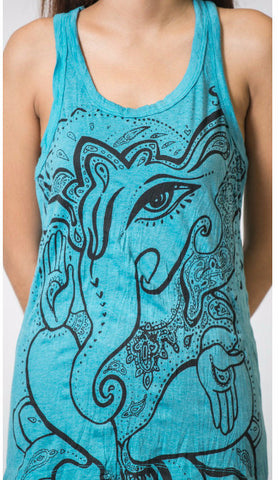 Sure Design Women's Cute Ganesh Tank Top Turquoise