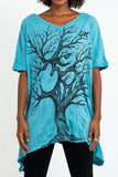 Wholesale Sure Design Women's Om Tree Loose V Neck T-Shirt Turquoise - $9.50