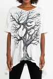 Wholesale Sure Design Women's Om Tree Loose V Neck T-Shirt White - $9.50